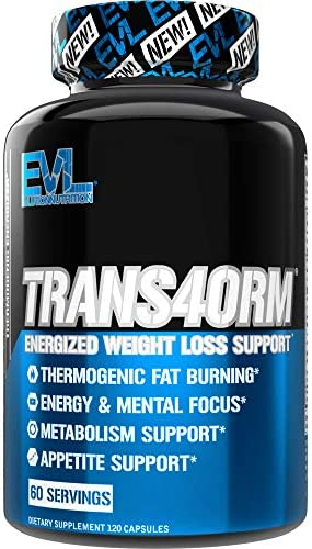 Evlution Nutrition Trans4orm - Complete Thermogenic Fat Burner for Weight Loss, Clean Energy and Focus with No Crash, Boost Metabolism, Suppress Appetite, Diet Pills (60 Servings) 1