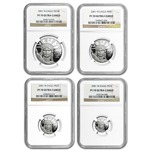 - 2001 W 4-Coin Proof Platinum American Eagle Set PF-70 NGC PF70