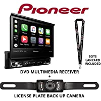 Pioneer AVH-3300NEX 7 Single Din DVD Receiver Apple CarPlay Built in Bluetooth with License Plate Style Backup Camera and a FREE SOTS Lanyard