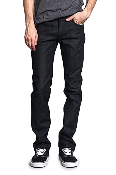 Victorious Mens Skinny Fit Stretch Raw Denim Jeans DL936 - BLACK - 28/30