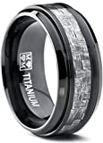 9MM Black Titanium Men's Wedding Band Ring with Wide Gray Carbon Fiber Inlay, Comfort Fit Size 11