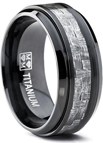 Metal Masters Co. 9MM Black Titanium Men's Wedding Band Ring with Wide Gray Carbon Fiber Inlay, Comfort Fit Size - Mens Carbon Titanium