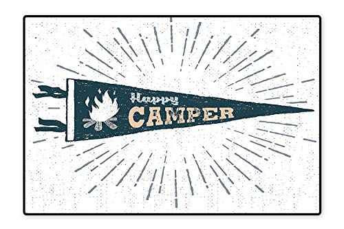 Collection Area Rug Happy Camper Written Pennant Flag with Camping Fire Adventure Artsy Graphic Dark Grey Peach Ideal Anti Slip 5'8