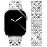 Goton Jewelry Band Compatible with Apple Watch Band 44mm 42mm, Women Luxury Diamond Bling Crystal Stainless Metal Replacement Strap for iWatch Band Series 4 3 2 1 (Silver - 44mm 42mm)