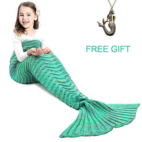 JR.WHITE Mermaid Tail Blanket for Adults,Hand Crochet Snuggle Mermaid,All Seasons Seatail Sleeping Bag Blanket (Green White)