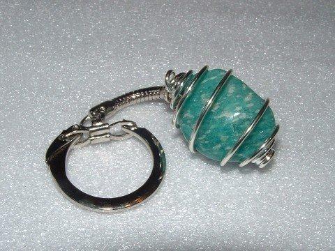 Amazonite Spiral Gemstone Crystal Cage Keyring none