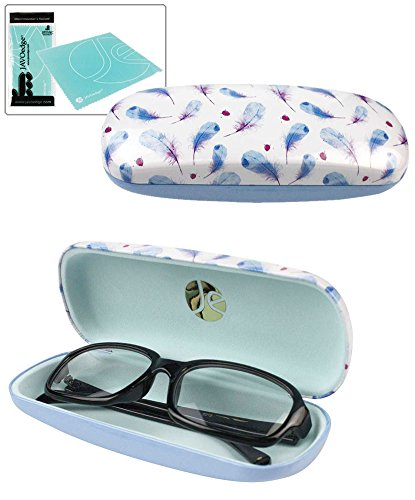 JAVOedge Blue and Light Purple Small Feather Pattern Hard Glasses Case plus Bonus Microfiber Cloth