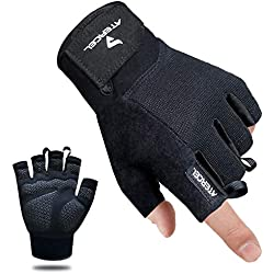 Atercel Workout Gloves, Best Exercise Gloves for Weight Lifting, Crossfit, Cycling, Gym, Training, Breathable & Snug fit, for Men & Women (Black, M)