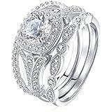 3Pcs/Set 925 Silver White Topaz Ring Wedding Engagement Women Men Size 6-10 (10)