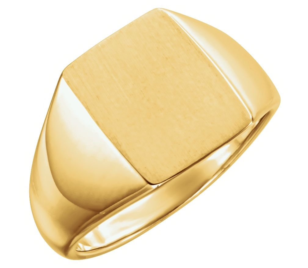 Men's Brushed Rectangle Signet Ring, 14k Yellow Gold (15x12MM) Size 10.25
