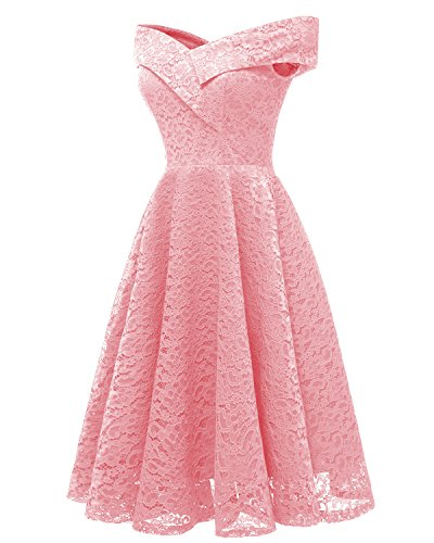Women's Vintage Pink Neck Formal Dress Shoulder Dresses Swing 1 Floral Cocktail Off Aibwet Lace Boat BZWURSZ4