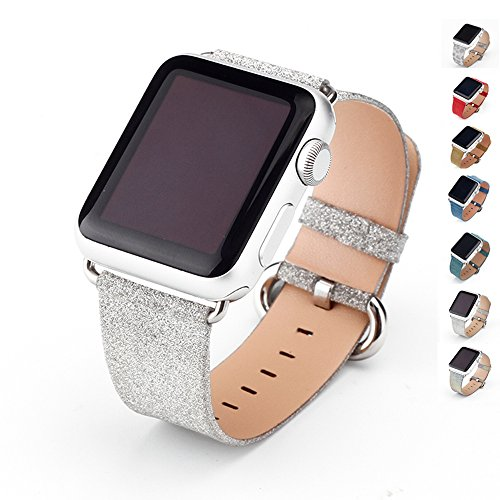 MIFFO Apple Watch Band Leather iWatch Strap Extreme Deluxe Shiny Bling Glitter Leather Bracelet Wristband for Apple Watch Series 1, Series 2, Series 3 Sport Edition (Silver-38mm)
