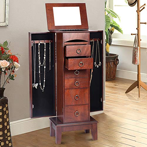 - GentleShower Jewelry Cabinet with Mirror Jewellery Box Organizer Wooden Jewelry Storage Armoire Hanging 6 Drawers