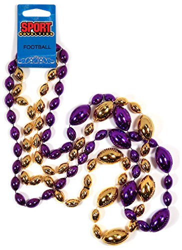 Sports Novelties 1-Dozen Football Shaped Bead (Pack of 2), Purple and Gold, 38