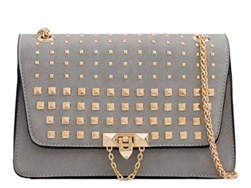 LeahWard Women's Studded Cross Body Bags Shoulder Handbag 255 Grey