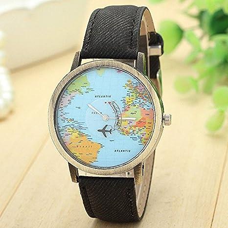 Yesmile ❤ Nuevo estilo reloj mapa del mundo Moda Viaje global en avión Mapa del mundo Reloj de vestir de las mujeres Banda de tela de mezclilla: ...