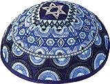 Judaica Jewish Yair Emanuel Star of David Multi Blue Embroidered Kippah Kippa