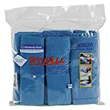 WypAll 83620CT Microfiber Cloths, Reusable, 15 3/4 x 15 3/4, Blue (Case of 24)