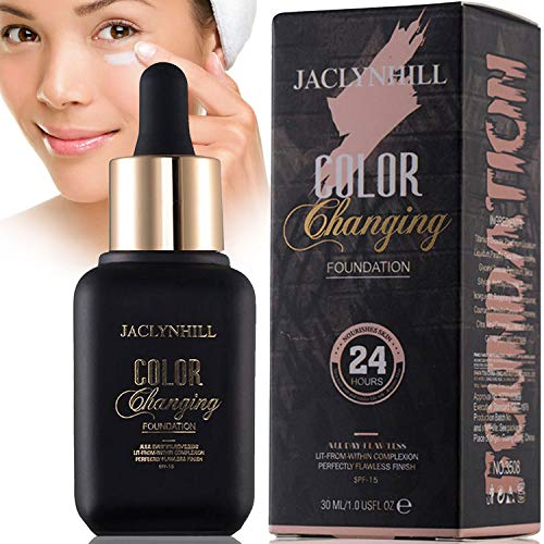 Color Changing Liquid Foundation, Foundation Cream, Hides Wrinkles & Lines,BB Cream, Covering Imperfections Liquid Complete Foundation Cover, Fluid Foundation Color Changing Flawless