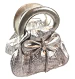 Patent Evening Clutch Bag with Bow (Silver), Bags Central