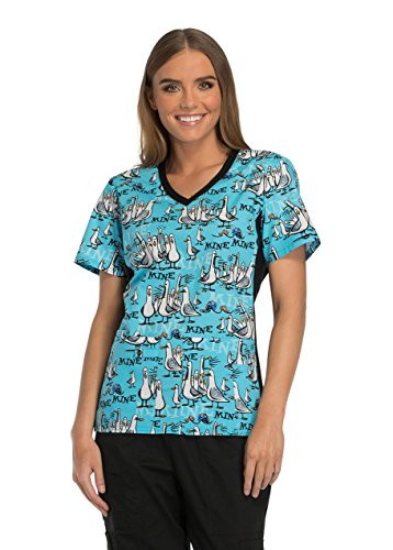 10a68344556 Tooniforms by Cherokee Women's V-Neck Finding Dory Print Scrub Top Large  Print