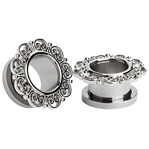 KUBOOZ(1 Pair Silver Flower Retro Stainless Steel Ear Plugs Tunnels Gauges Stretcher Piercings 00g