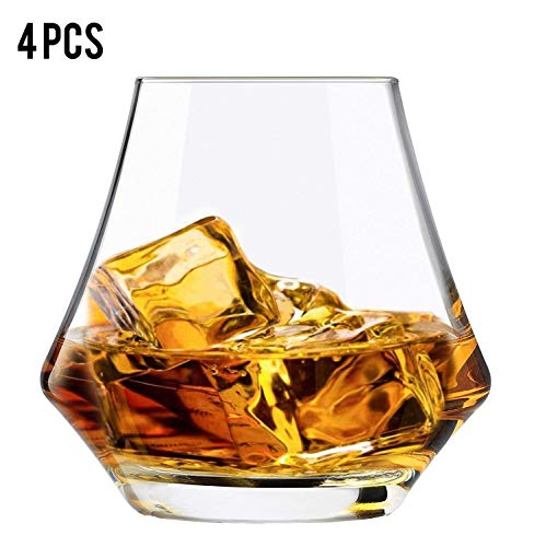 Set of 4 Whiskey Glass, 9.4oz Hand Blown Whiskey Tumbler, Whiskey Decanter for Drinking Scotch Bourbon Brandy Cognac with Easy Swirl Non-Lead Serving and Upscale