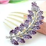 (US) Popfeel Crystal Glitter Shine Leaf Gem Rhinestone Flower Hair Clip Hairpin Side Comb Hair Decorations for Women and Girls