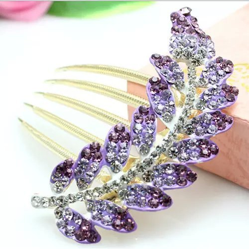 Popfeel Crystal Glitter Shine Leaf Gem Rhinestone Flower Hair Clip Hairpin Side Comb Hair Decorations for Women and Girls