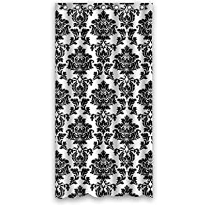 black and white damask shower curtain polyester fabric waterproof 36 x 72 home. Black Bedroom Furniture Sets. Home Design Ideas