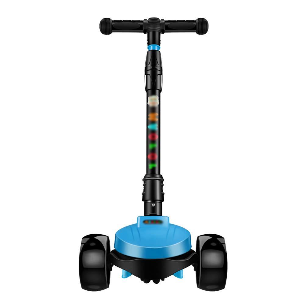 スクーター 子供のための折りたたみ式のフリースタイルスタントスクーター、Tバー調整可能な高さ、後部ブレーキ付きワイドペダルスクーター B07KW9KN94