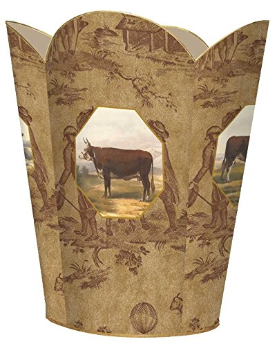 WB218-Cow and Bull on Brown Toile Wastepaper Basket