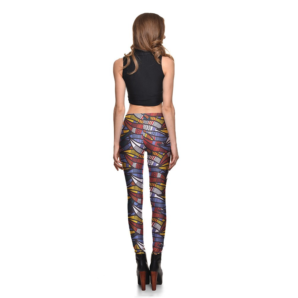 Hoyou Sexy Smooth Patterned Pants Slimming Tribal Galaxy Print Leggings For Women Girls USA1 S