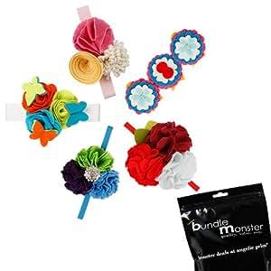 Bundle Monster - Set de 5 diademas elásticas de flores - Hechas a mano - Fieltro - Diseños variados