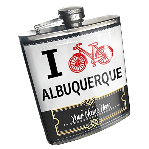 (Neonblond Flask I Love Cycling City Albuquerque Custom Name Stainless)