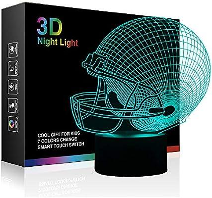 Timok - Casco de fútbol, luz nocturna 3D, 7 colores cambiantes, LED, lámpara de escritorio, control táctil, para niños, padres o fanáticos: Amazon.es: Iluminación