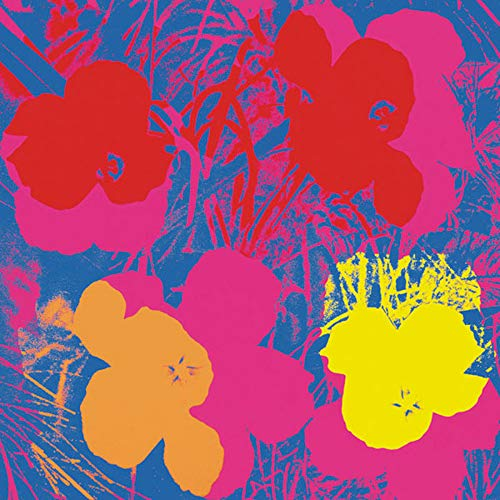 - Posters: Andy Warhol Poster Art Print - Flowers C.1964 (Red, Yellow, Orange On Blue) (14 x 11 inches)