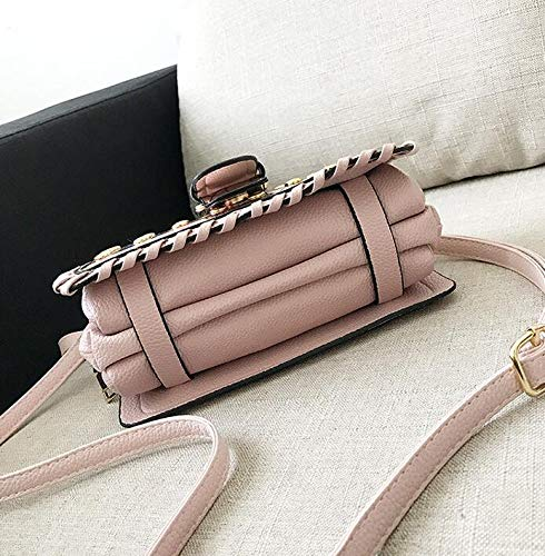 Oblique Femme fourre bandoulière Main tissé à Petit carré à Sac Mode Sauvage Rivet épaule Tout Sacs Pink chaîne GSHGA wqBTO