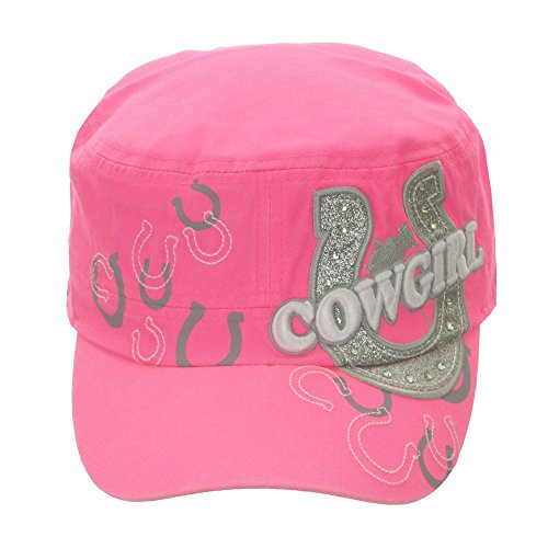 Women's Embroiled Horseshoes and Cowgirl Cadet Hat Neon Pink ()