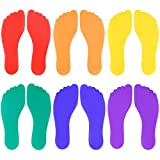 K-Roo Sports Set of Six Colorful Foot-Shaped Floor Markers - No-Slip Rubber Pairs of Footprints in Mesh Bag for School, Dance, Karate & Activities