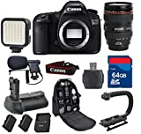 Canon 5Ds Digital SLR Camera with 24-105mm L IS USM + 64GB Memory Card + Video Rechargeable LED Light + Professional Condenser Shotgun Microphone + Battery Grip + Backpack - International Version