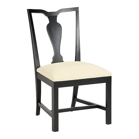 Ethan Allen Maddox Side Chair, Charcoal, Cayman Cream