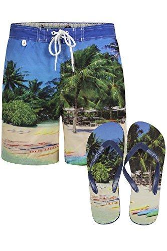Tokyo Laundry - Pantalones cortos para hombre nadar playa Tamarama de pantalones cortos y sandalias para hombre