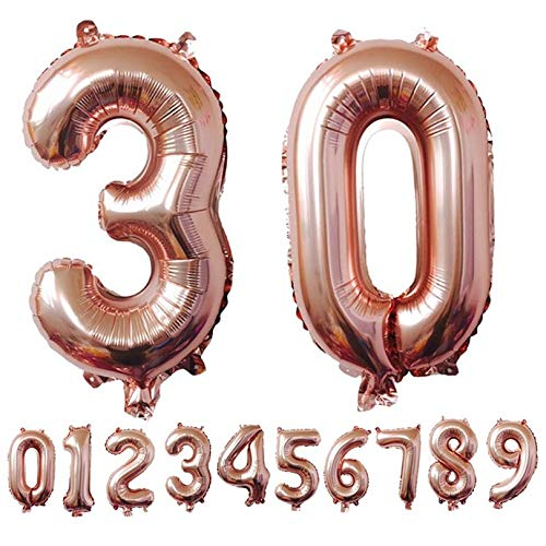 FGHGFCFFGH Rose Gold Aluminum Number Balloons Air Ballons Happy Birthday Decoration