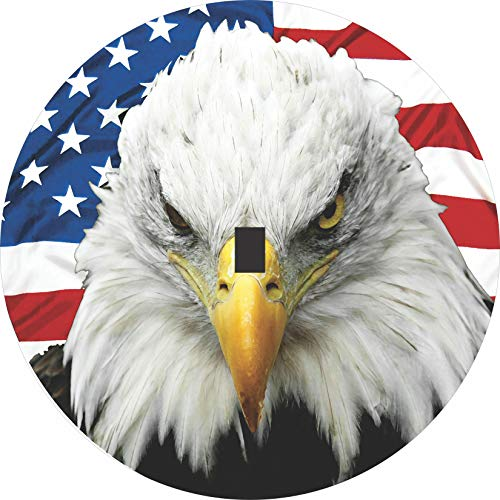 TIRE COVER CENTRAL Eagle Head with American Flag Spare Tire Cover with Back up Camera Opening for Jeep JL JLU(245/75r17 Back up Camera)