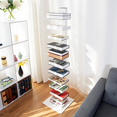 TANGKULA Spine Book Tower Shelf Bookcase Wall Shelf Unit Large Storage Floating Open Media Tower (Large Open Bookcase)