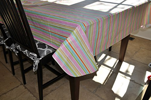 Stitched Edge Flannel Backed Vinyl Tablecloth EASTER STRIPE Pattern - 60