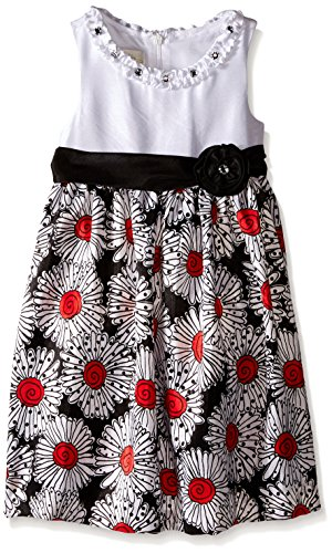 - American Princess Little Girls' Solid Bodice Shantung Red Dress, Black/Red, 4