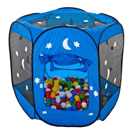 WELTNEUHEIT: nachtleuchtendes Bällebad / pop-up Zelt inkl 400 Bälle blau/weiß