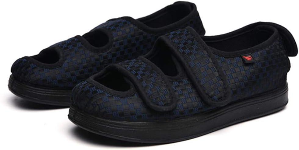 Extra ancho Zapatos diabéticos para mujeres Hombres, zapatillas de edema ajustables Fascitis plantar de interior/exterior Sandalias ortopédicas para ancianos Artritis de pies hinchados anchos,Azul,38